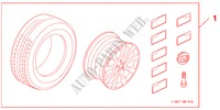 COMPLETE WHEELS 17 X 7,0 JJ   DYNAMIC für Honda Auto CIVIC 1.8 BASE 5 Türen 5 gang automatikgetriebe 2009