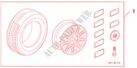 COMPLETE WHEELS 17 X 7,0 JJ   TECHNIC für Honda Auto CIVIC 1.8 BASE 5 Türen 5 gang automatikgetriebe 2009